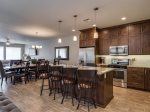 Kitchen with upgraded stainless steel appliances and ample counter space