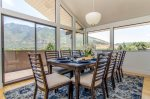 Dining table for 8 with a gorgeous mountain view of Little Cottonwood