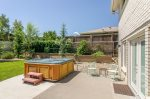 Backyard with hot tub