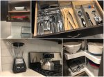 Cutlery, utensils, blender, kettle, mixing bowls, storage and waffle iron included