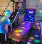 Disco lighting sets the mood for this awesome game room