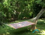 Relax on this comfortable hammock in a park like setting out back