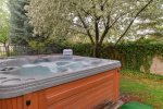 Relax in this private and secluded back yard hot tub