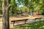 City park in back playground, ball fields, pavilion
