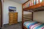 Bedroom 4, twin bunk bed, note there is no privacy door or closet in this room