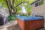 Private hot tub on back patio