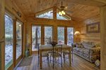 A View of the Creek- Blue Ridge cabin rentals- Sunroom