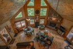 Wolf`s Den- Blue Ridge cabin rental- Living Room aerial view