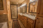Dogwood Dream-North Georgia Cabin Rental-Master Bath with separate tub and shower