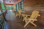 HOOKERS HIDEAWAY BLUE RIDGE CABIN RENTAL PORCH