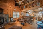 HOOKERS HIDEAWAY OCOEE RIVER CABIN RENTAL LIVING ROOM