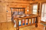 Snuggled Inn- Blue Ridge Cabin Rental- Master Electric Fireplace