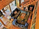 Blue Ridge cabin rentals AERIAL VIEW LIVING ROOM