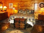 master bedroom w/th kind bed-Ocoee River cabin rentals