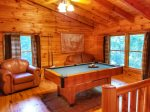 upper living area with pool table-north Georgia cabin rental