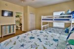 Spacious bunk room with two closets, dresser, TV and private full bath.