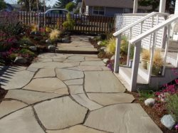 Pathway and landscaped front enterence
