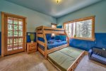 Bunk room: Twin over full bunk AND full size trundle bed. DVD player/TV.