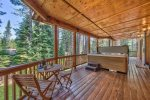 Lower Deck with New Hot Tub: access from 3 bedrooms, and family room.