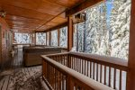 Covered Deck Above Hot Tub - - No digging snow to enjoy a soak