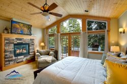 Master Bedroom with French Doors to Deck and Hot Tub