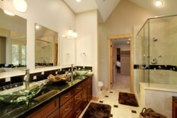Master Bath with dual vanity, large closet, shower, and jetted soaking tub.