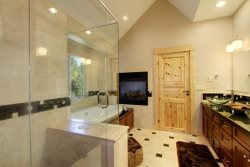 Master Bath with shower and large jetted soaking tub.