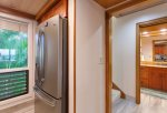 The guest bathroom is located on the first floor and offers lots of space for guests