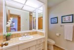 The guest bathroom is perfect for visiting guests or that extra room to get ready