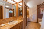 Large master bath with soaking tub/shower, two sinks and private toilet