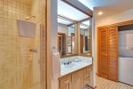 The guest bathroom is perfect for visitors and extra room to get ready for the day