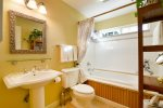 The adjoining master bath has a tub and shower