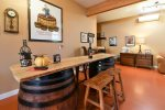 Wine barrel bar fits perfectly in the home
