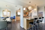 Bar seating and open kitchen design, perfect for cooking and playing host