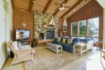 This livingroom offers a cozy cabin feel. Fireplace not operational