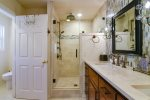 The beautiful master bath has a gorgeous step in shower