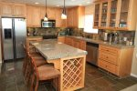 This high end kitchen has very nice finishes and appliances.  It`s very well equipped.