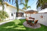 The front yard is fenced off and is very private.  The landscaping is beautiful and it`s a great place to hang out.