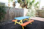 Fenced back yard with picnic table and clothes line to dry your beach towels