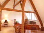 old oak beams in salon