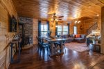 Just off the kitchen is the living and dining area along with a cozy gas stove.