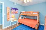 Second bedroom with bunk beds, full and twin