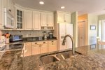 Gourmet kitchen with granite counter tops.