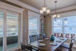 Dining area with a view of the ocean will make dinner time even more enjoyable.
