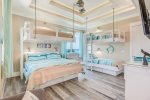 This great bunk room offers twin over twin bunk set, queen over king bunk set with ensuite, along with ocean view