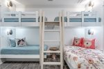 First floor twin bunk and twin over queen bunk with flat screen