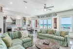 Open floor plan with easy access to the pool and beach