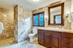 2nd upstairs master bath with walk-in shower at Costa Brava Villa