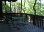 Deck with Picnic Table to enjoy this Gatlinburg Cabin`s beautiful setting