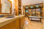 Master Ensuite- walk through stone shower; claw foot tub; double vanity